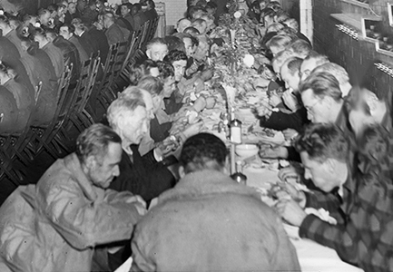 A meal being served to hundreds at The Bowery Mission