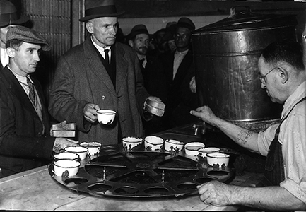 Coffee being served at The Bowery Mission