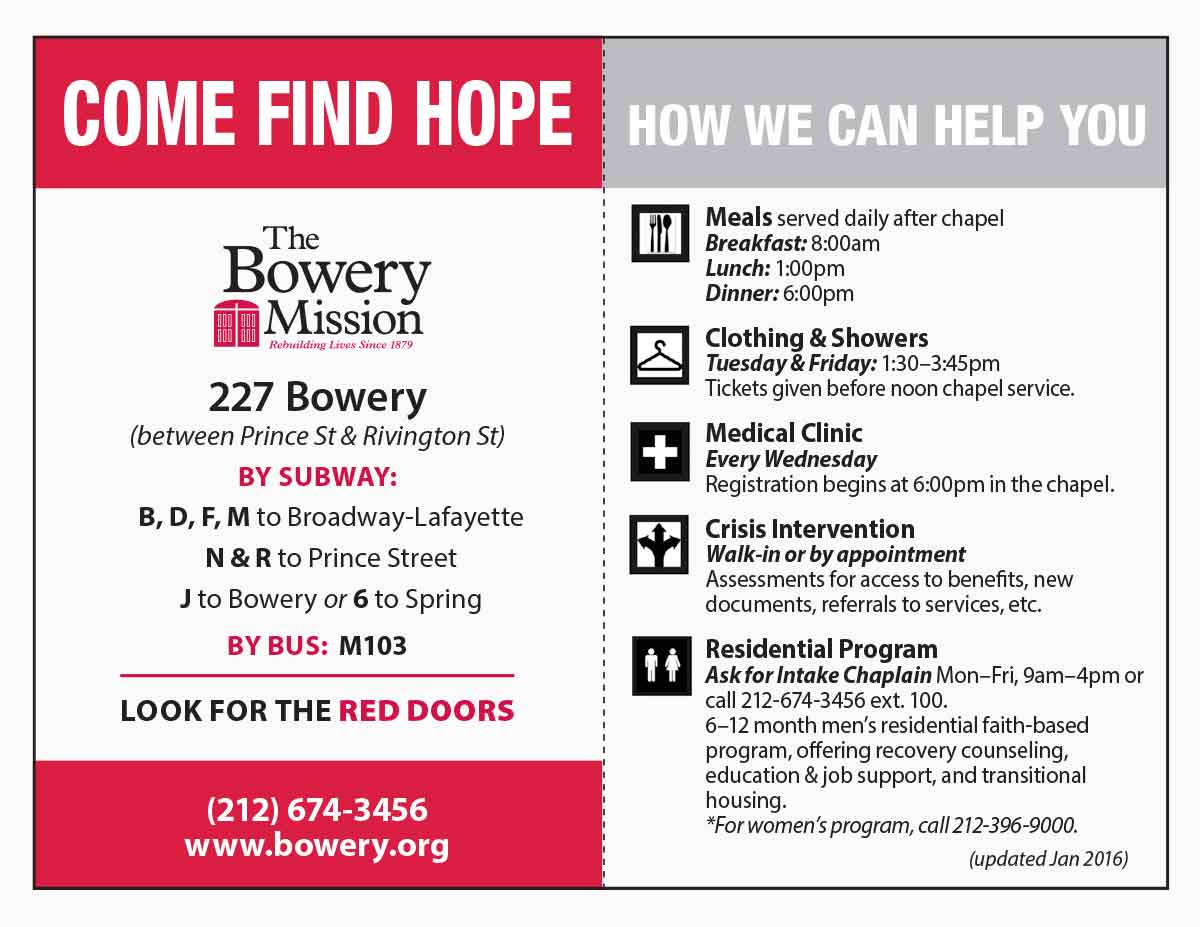 The Bowery Mission Resource Cards