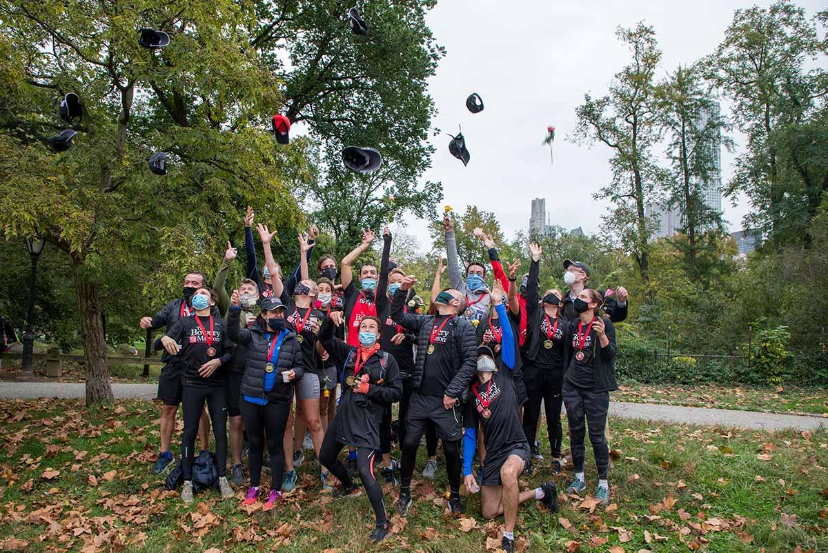 Runners celebrating finish